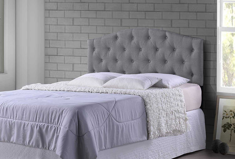 amazoncom wholesale interiors baxton studio myra modern and fabric upholstered scalloped headboard full grey