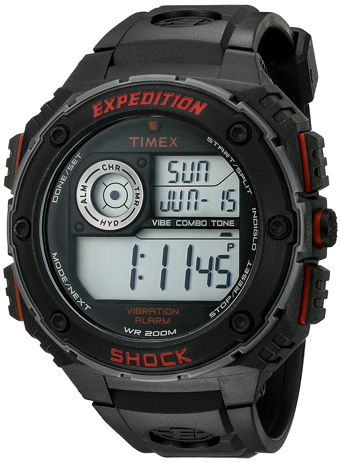 2567a9e56575 Amazon.com  Timex Men s T499839J Expedition Vibe Shock Watch with Black  Band  Timex  Watches