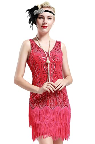 Roaring 20s Costumes- Flapper Costumes, Gangster Costumes BABEYOND Womens Flapper Dresses 1920s V Neck Beaded Fringed Great Gatsby Dress $38.99 AT vintagedancer.com
