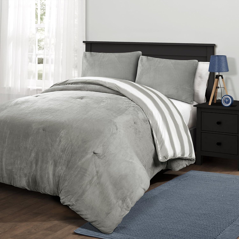 Lush Decor Navy, Twin-XL Marlton Stripe 2 Piece Comforter Set