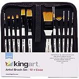 KingArt STUDIO Golden Nylon Paint Brush Set, Set of 12, 12 Piece