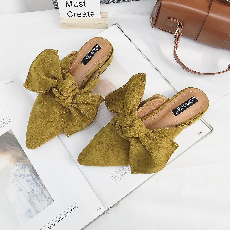Angrousobiu Angrousobiu Angrousobiu Flache Unterseite Hausschuhe Mädchen Bow Tie Flache Unterseite einzelne Schuhe weibliche Spitze Flache Unterseite einzelne Schuhe Sommer Sandalen d1dff4