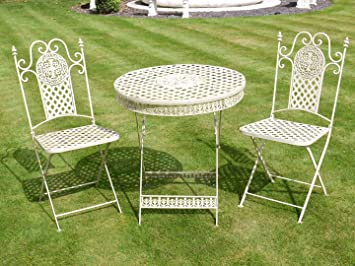 white wrought iron furniture. antique white wrought iron 3 piece bistro style garden patio furniture set
