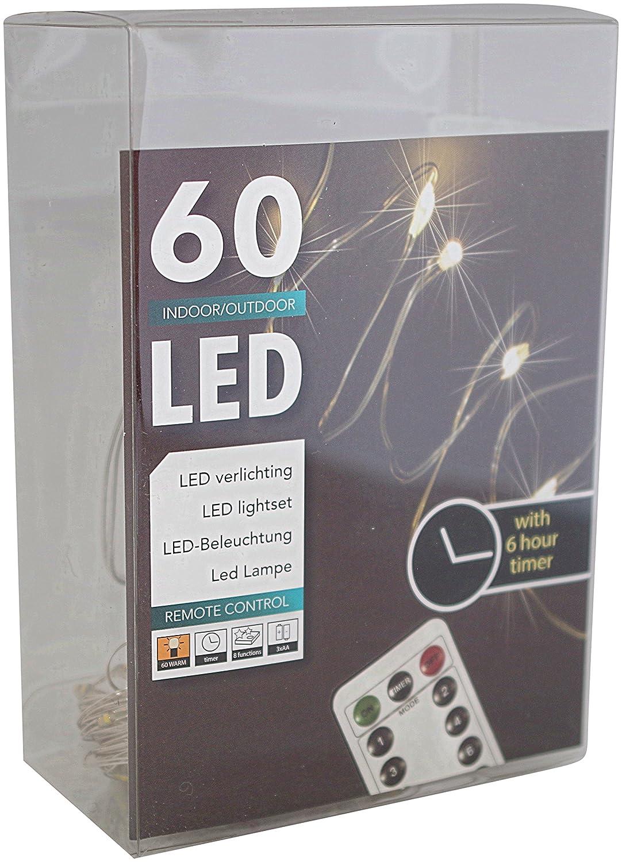 60er Led Draht Lichterkette Batterie warmweiß mit Timer für innen ...