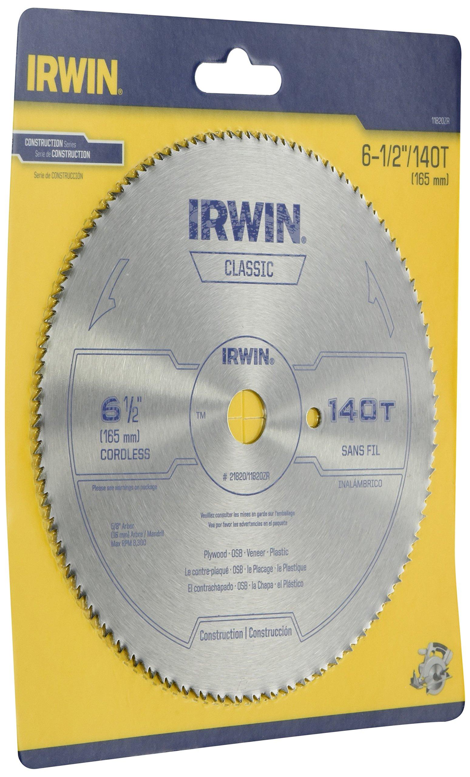 Disco Sierra IRWIN 11820ZR 6 1/2 x 140T TFG Plástico contr