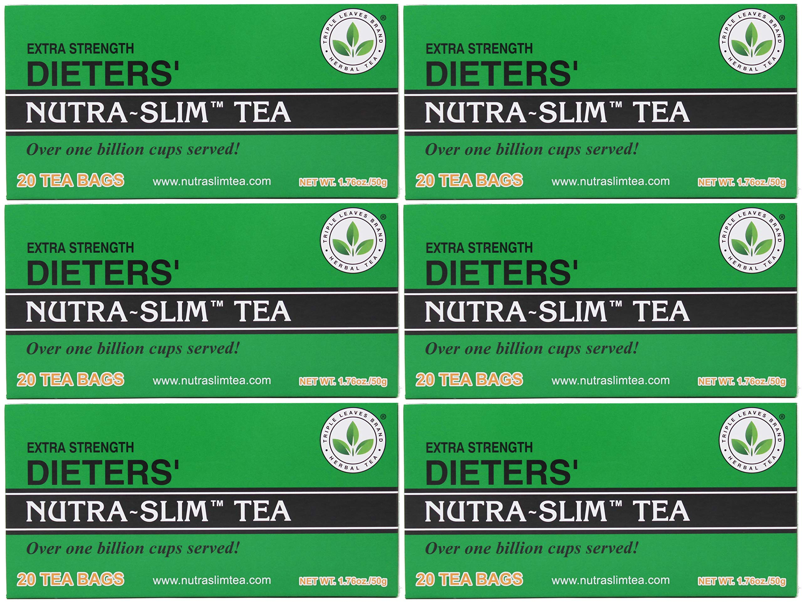 SIX BOXES of Triple Leaves Nutra-slim Tea 20 Tea Bags