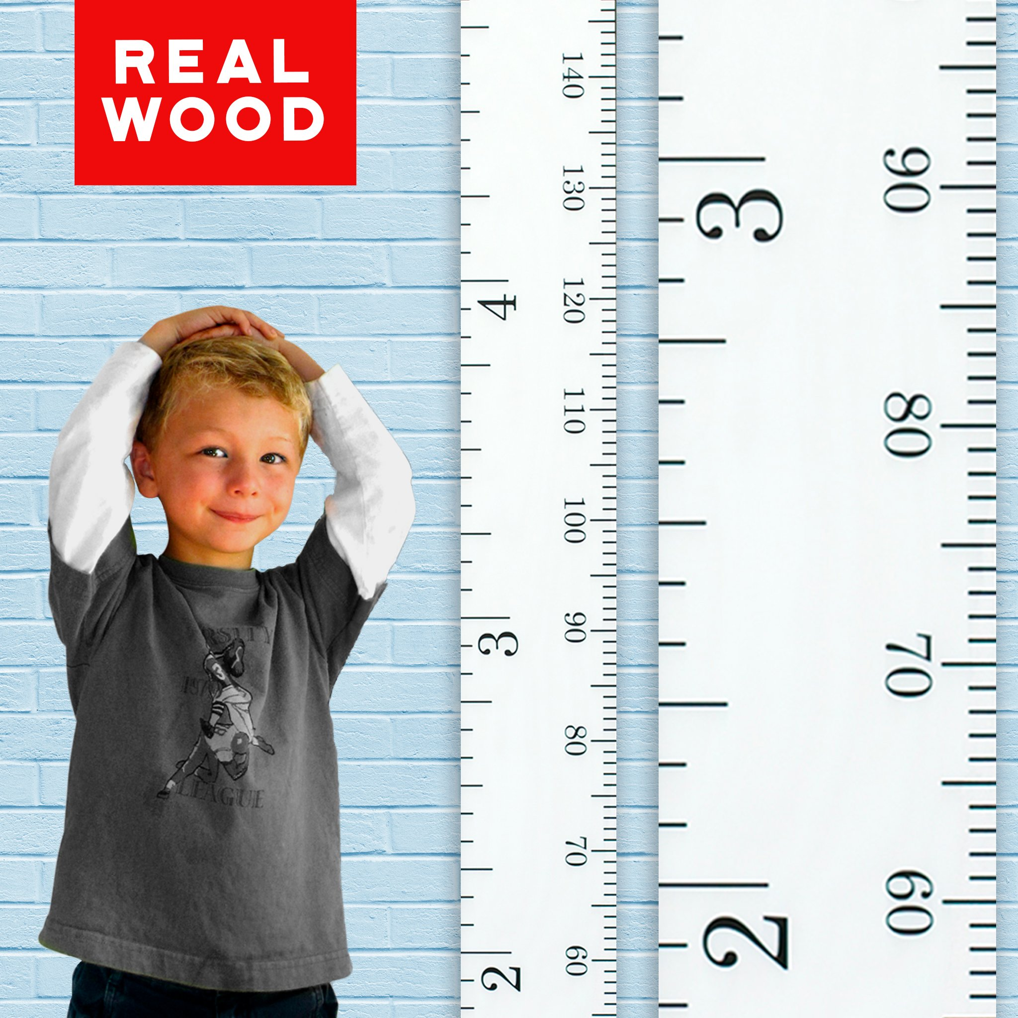 Growth Chart Art   Wooden Height Chart for Kids, Boys and Girls   Durable, Portable and Beautiful Height Measurement   White Classic Schoolhouse Ruler with Black Numerals Inches/Centimeters