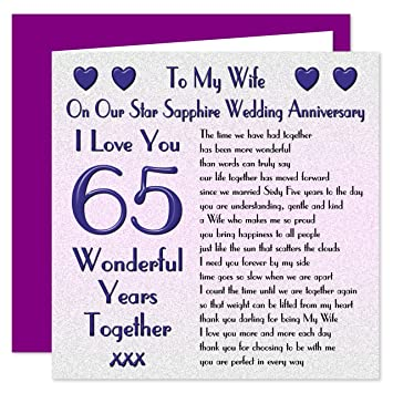My Wife 65th Wedding Anniversary Card - On Our Star Sapphire ...