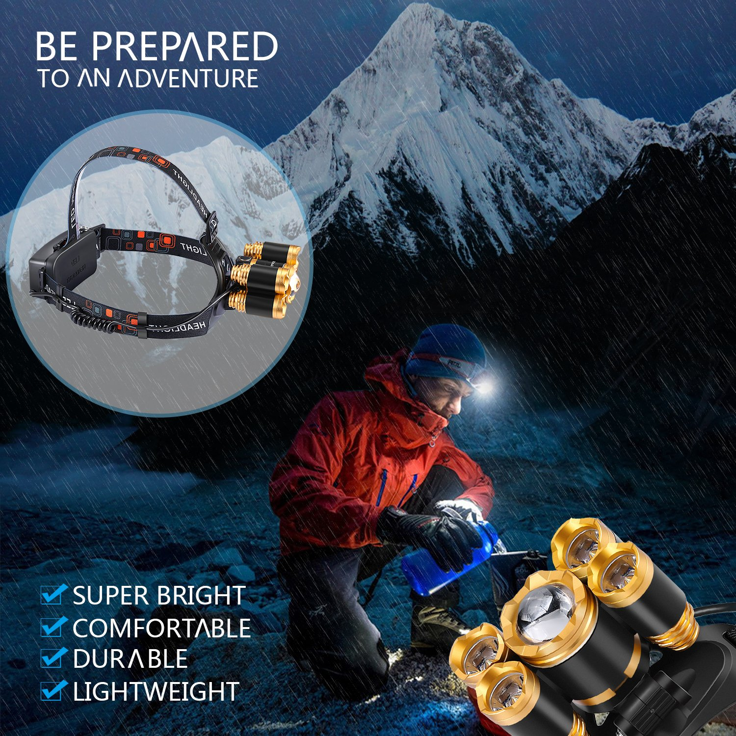 Rechargeable LED headlamp, Zukvye Super Bright 5 LED Headlight Zoomable Waterproof CREE Headlamps Flashlight for Cycling, Running, Dog Walking, Camping, Hiking, Fishing, Night Reading and DIY Works by Zukvye (Image #6)