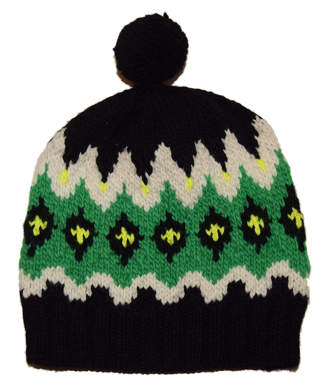 bac7cb7c124 Ralph Lauren Polo Mens Merino Wool Ski Skull Knit Hat Cap Green Black  Yellow at Amazon Men s Clothing store