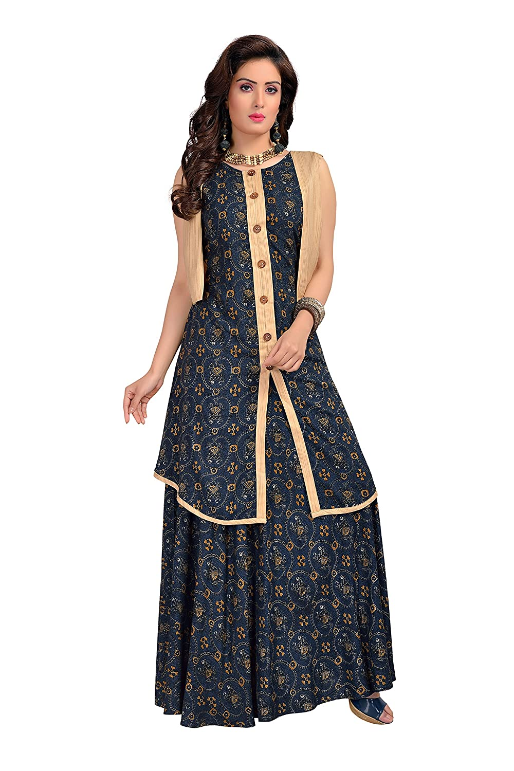 fa8b665104a Long Gown Jacket Style Designer Printed Rayon Trendy Kurti  Amazon.in   Clothing   Accessories