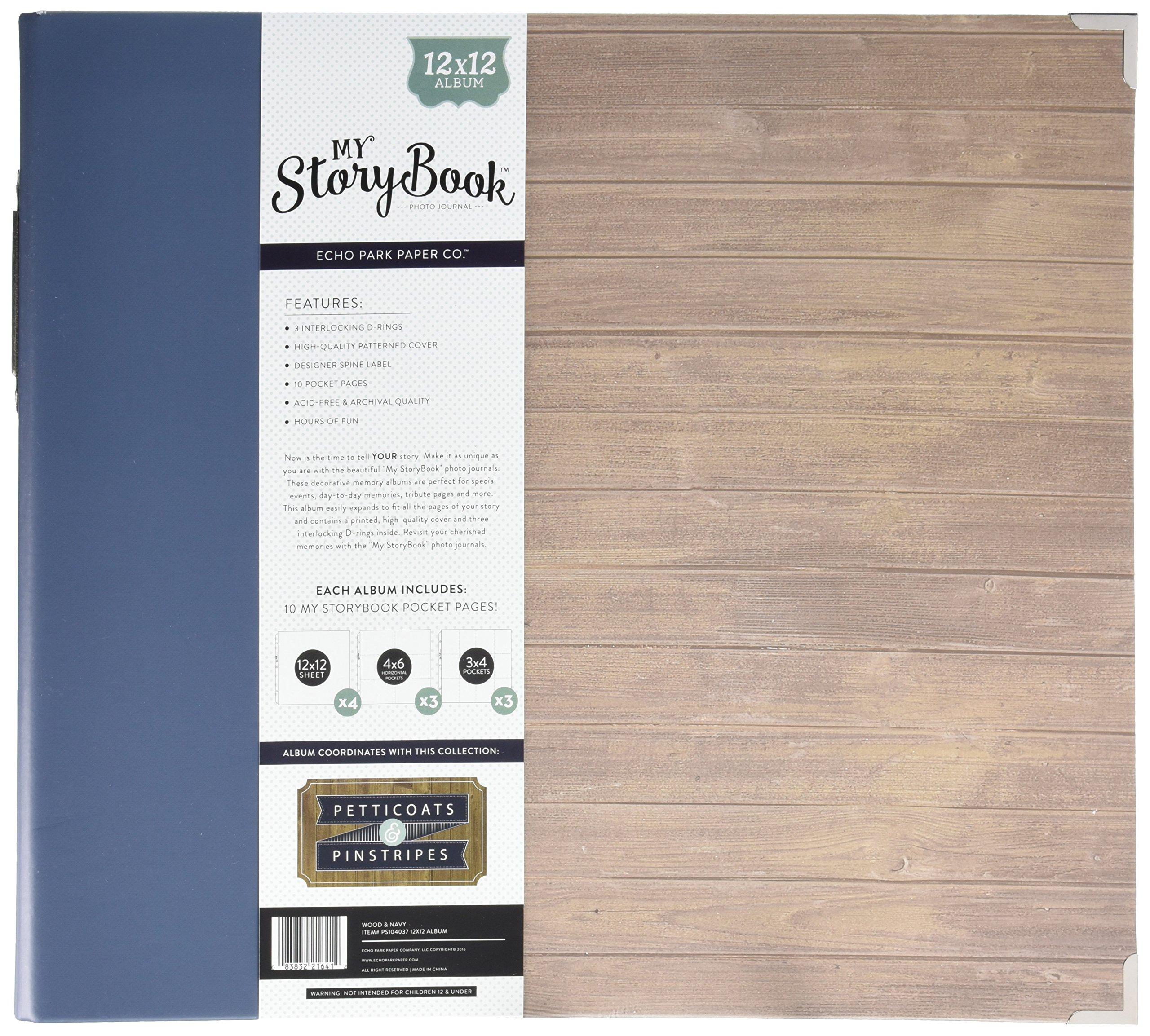 Echo Park Paper PS104037 My Storybook Album Photo Journal, 12'' x 12'', Petticoats & Pinstripes Boy Wood, Multicolor