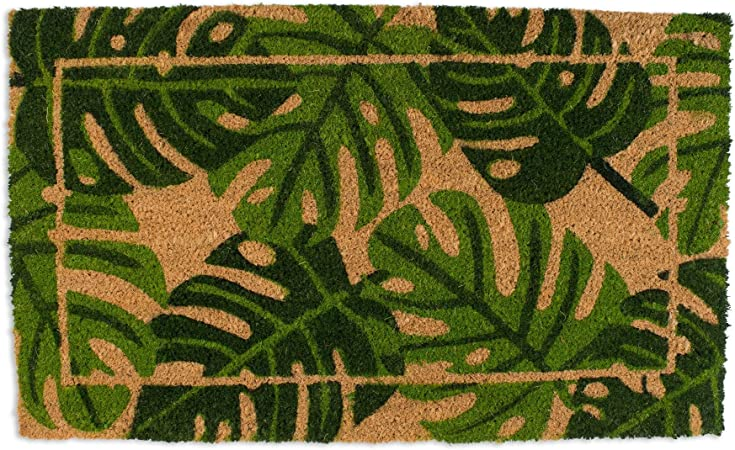 Dii Natural Coir Fiber Non Slip Pvc Backing Indoor Outdoor Welcome Home Doormat 18x30 Palm Leaves Home Kitchen