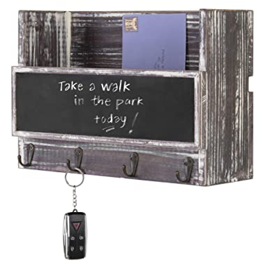 MyGift Wall-Mounted Torched Wood Mail Holder Organizer with 4 Key Hooks & Chalkboard