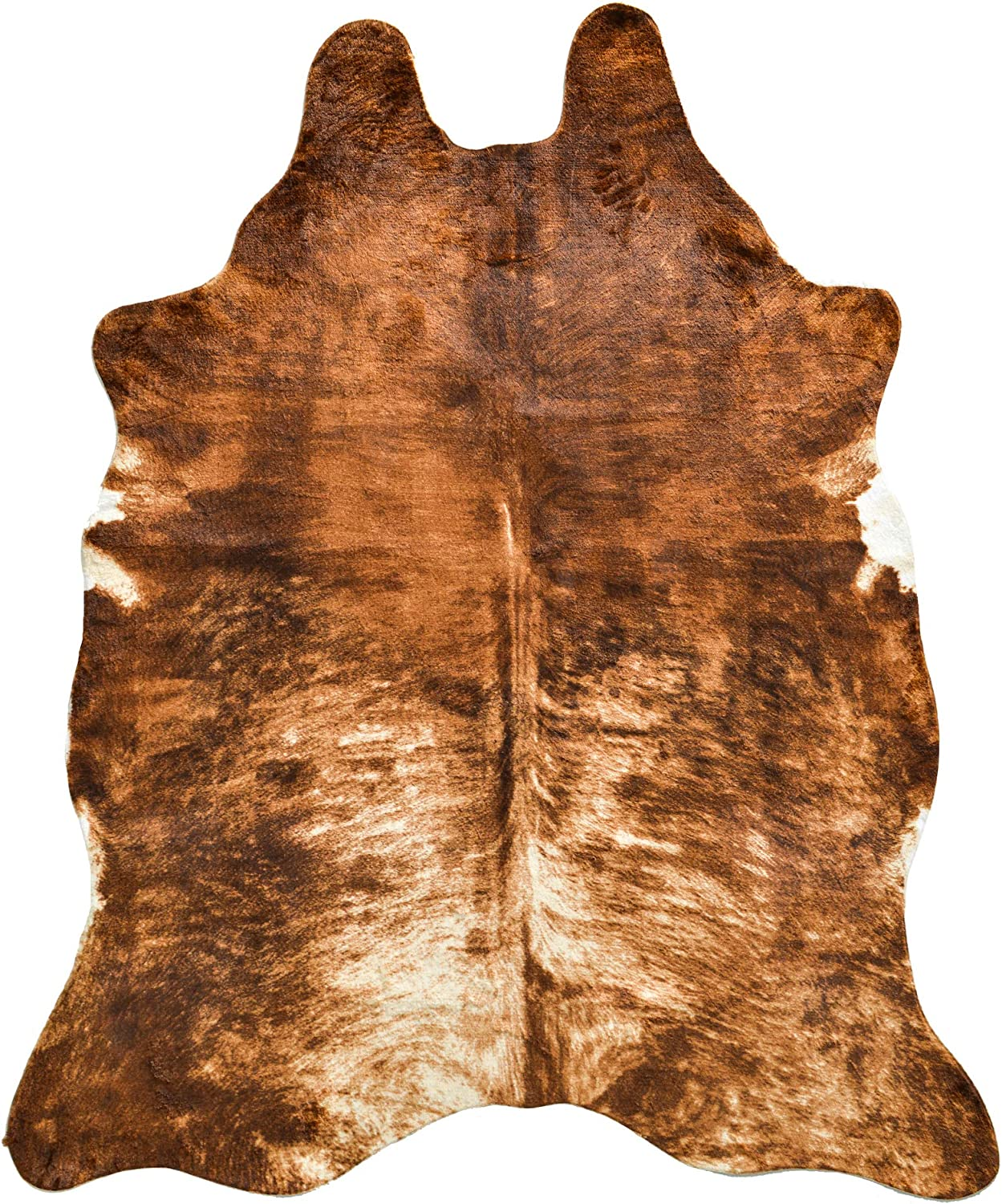 NativeSkins Large Faux Cowhide Rug - Sahara Sands (4.6ft x 6.6ft) - Cow Print Area Rug for a Western Boho Decor - Synthetic, Cruelty-Free Animal Hide Carpet with No-Slip Backing
