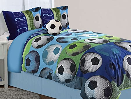 Mk Collection 8pc Queen Comforter Set with Furry Soccer Pillow Soccer Light Blue Green Navy Blue White Black New