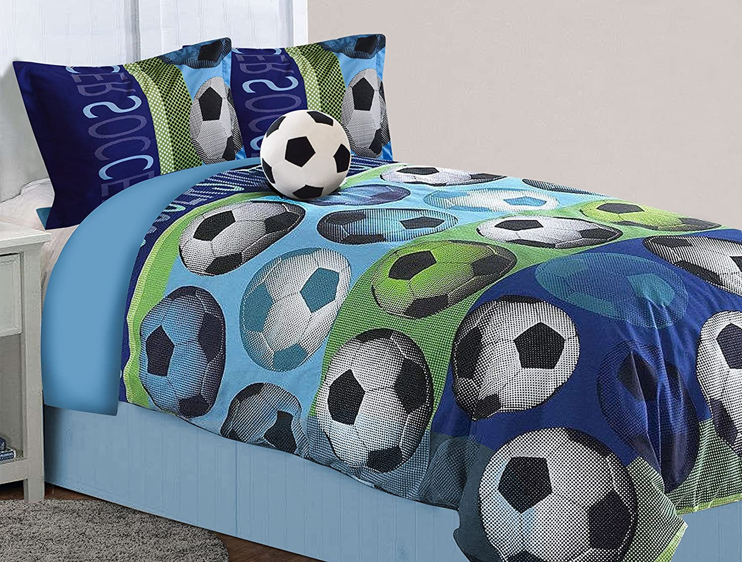 All American Collection 4 Piece Full Size Soccer Comforter Set with Furry Friend 4 Pc Full Size