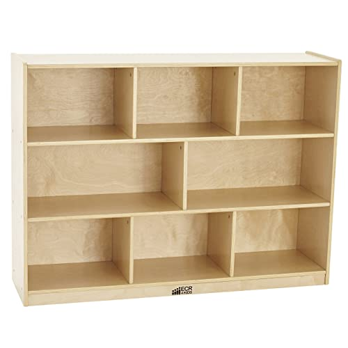 ECR4Kids Birch 8 Section School Classroom Storage Cabinet With Casters Natural 36