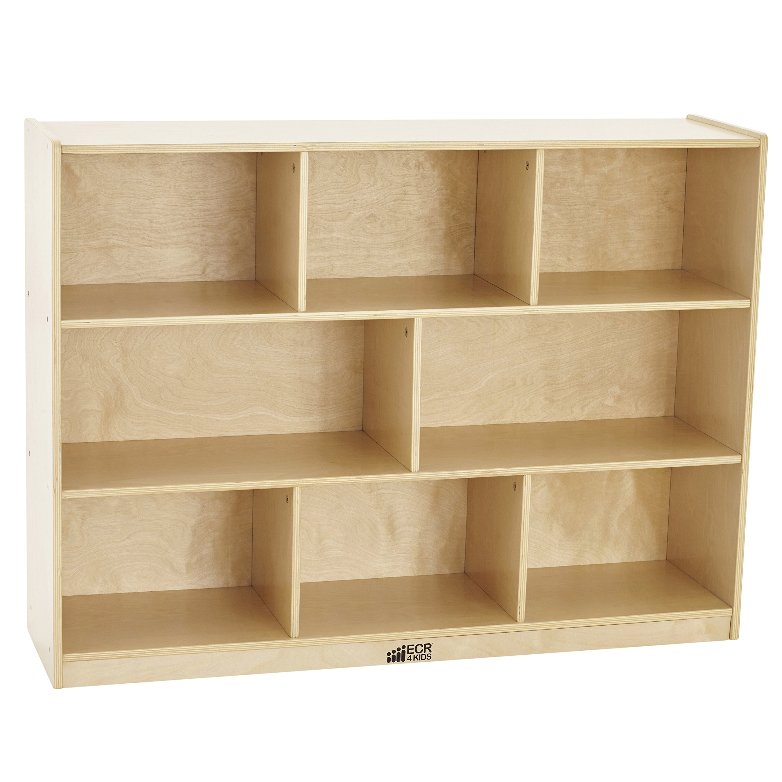 ECR4Kids Birch 8-Section School Classroom Storage Cabinet with Casters, Natural, 36'' H