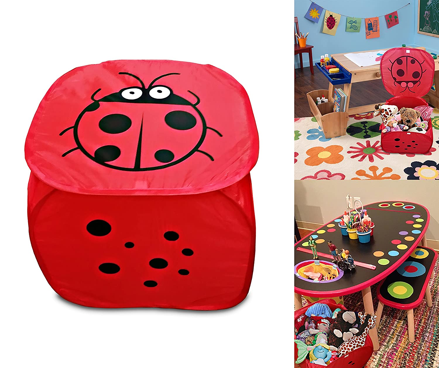 Red Lady bug Pop up mesh toy and game organizer bin, with lid & Easy to carry handles, Square Folding Toy chest Decor Hut