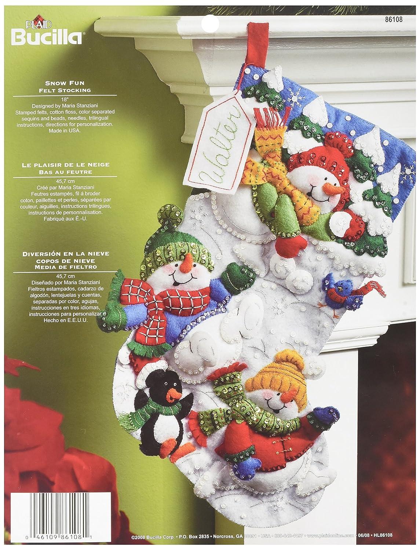 Bucilla 18-Inch Christmas Stocking Felt Applique Kit, 86108 Snow Fun Plaid Inc dimensions needlecrafts holiday stitchery