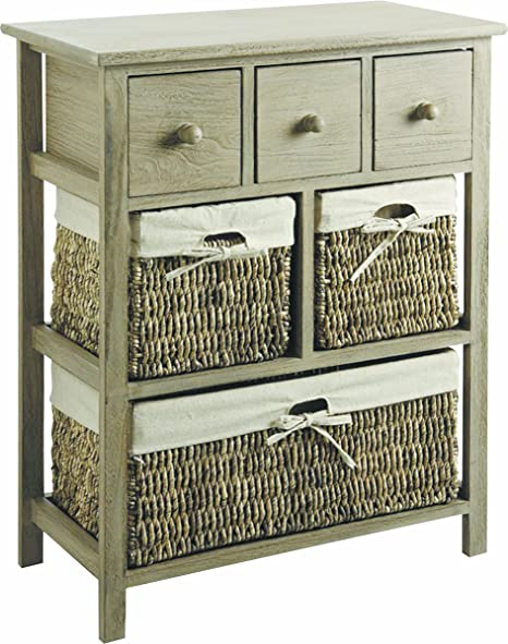 large french grey wooden storage chest withthree drawers and three