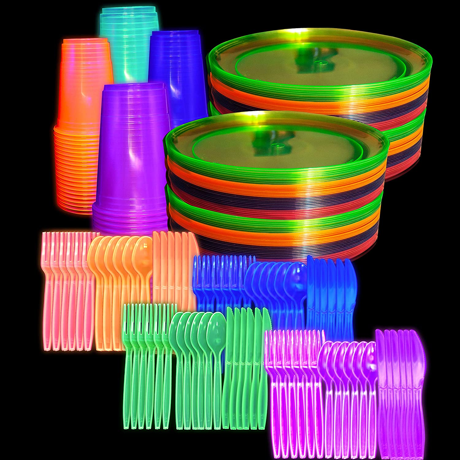 """Neon Black Light Party Supplies Set Serves 80 Guests 9"""" Plates, 10 Oz Cups, Forks, Knives, Spoons Blacklight UV Parties Glow in The Dark Decorations 544 Piece Supply Set"""