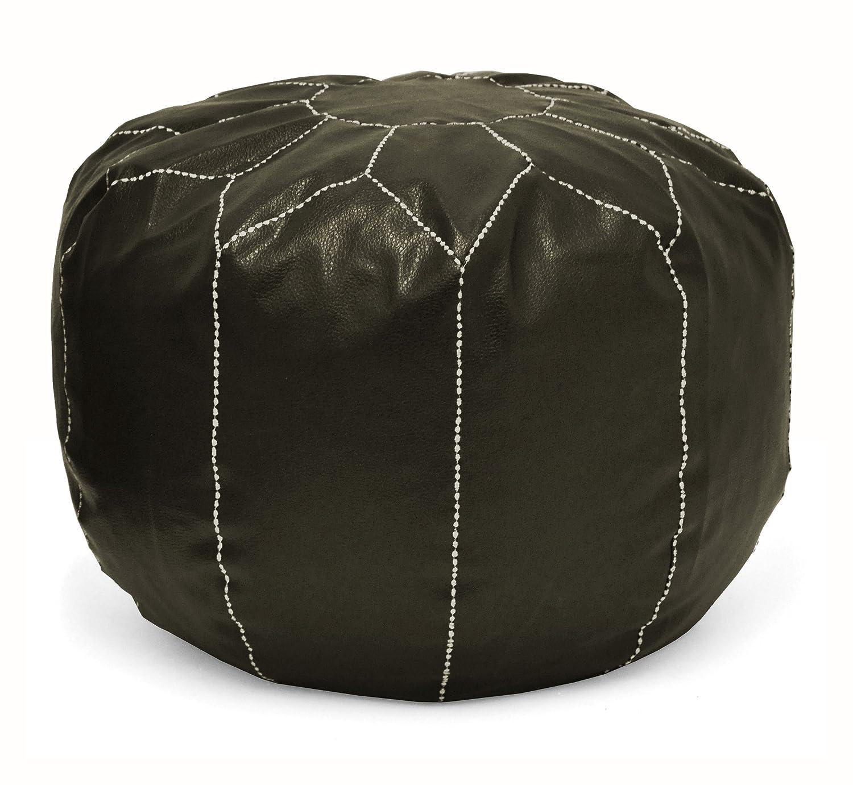 on sale 80a95 61fb7 Urban Shop Round Faux Leather Pouf, Brown