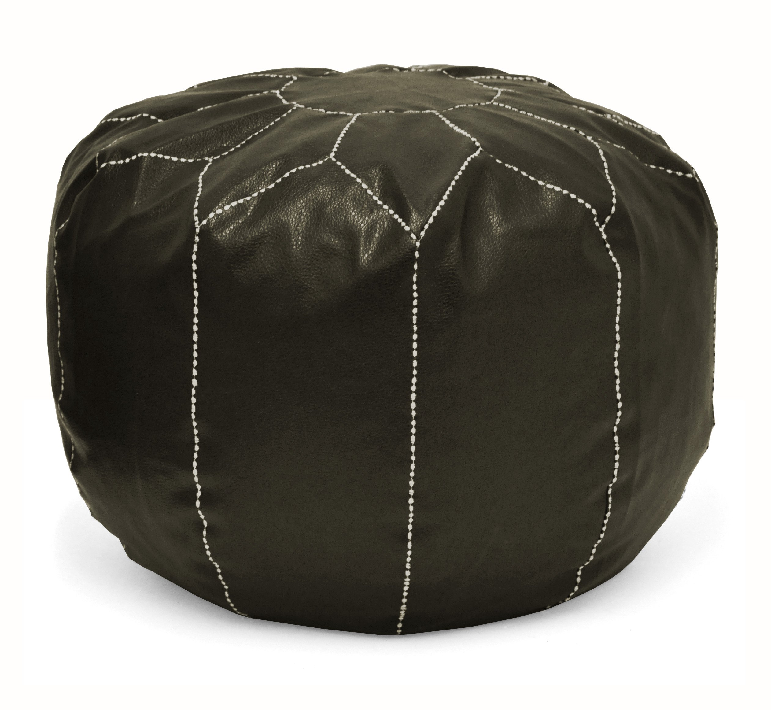 Urban Shop Round Faux Leather Pouf, Brown