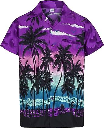 Redstar Fancy Dress - Camisa Hawaiana de Manga Corta - para Hombre - Palmeras - Todas Las Tallas - Morado - 3XL