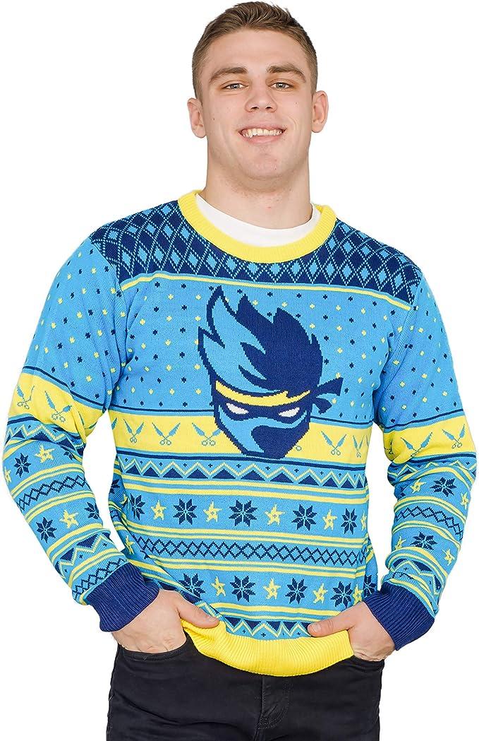 Amazon.com: Ninja Video Game Streamer Blue Face Sweater ...