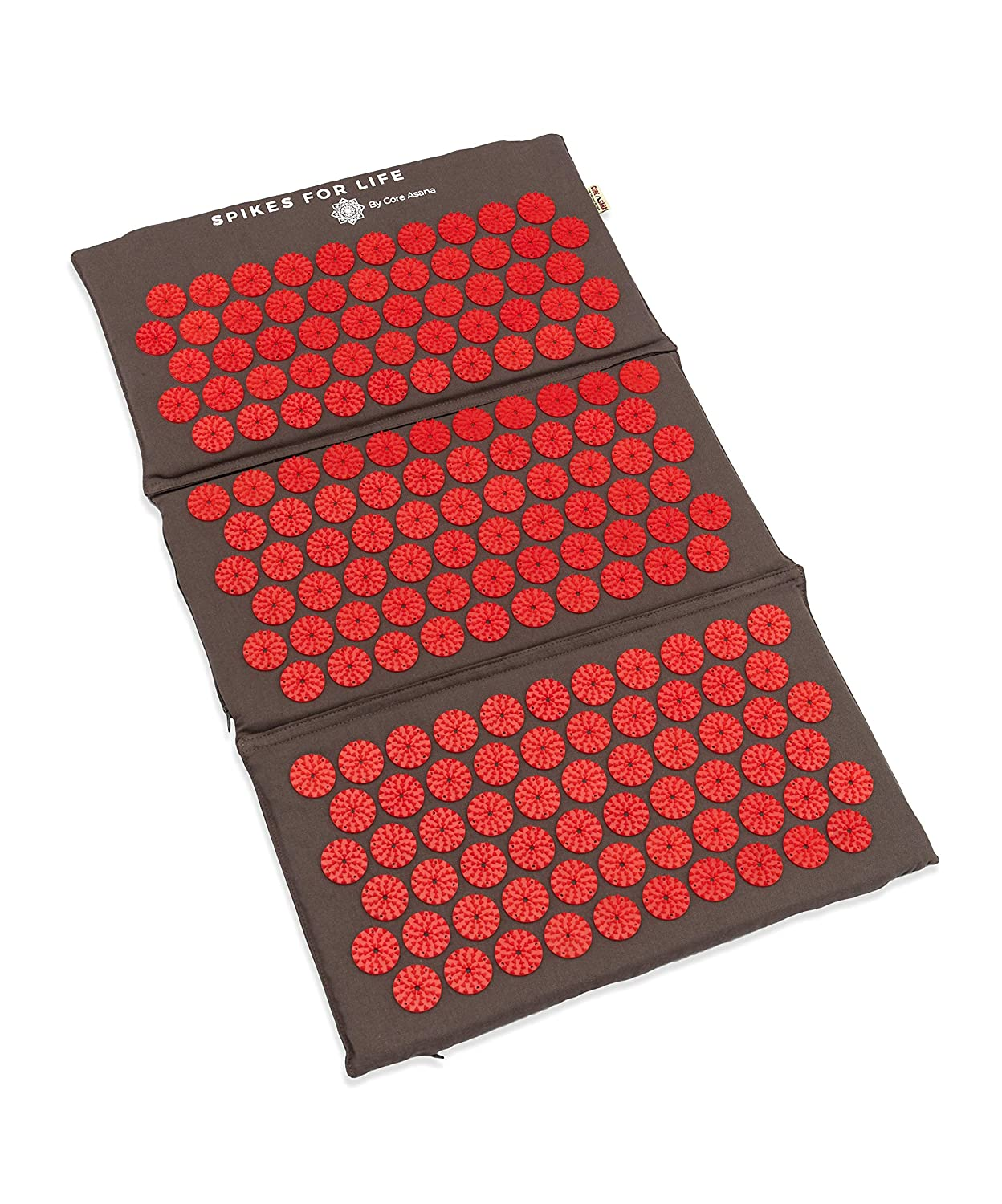 Red Acupressure spike Massager Spikes for Life Detachable Accupressure Reflexology Mat Pillow Set with Printed Meridian Points