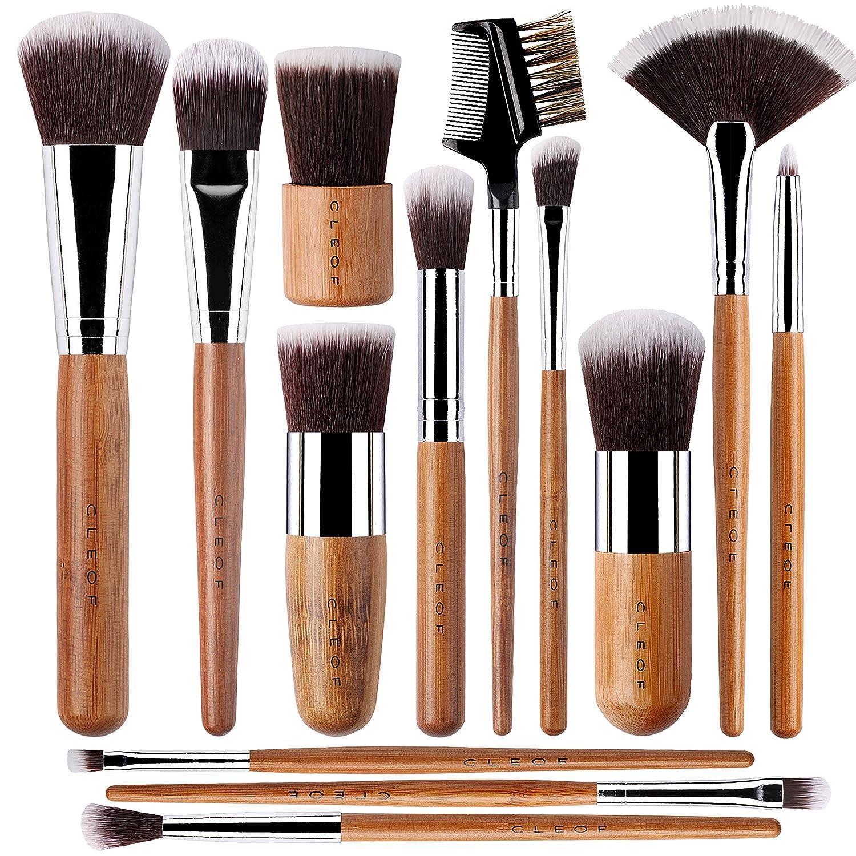 13 Bamboo Makeup Brushes Professional Set - Vegan & Cruelty Free - Foundation, Blending, Blush, Powder Kabuki Brushes