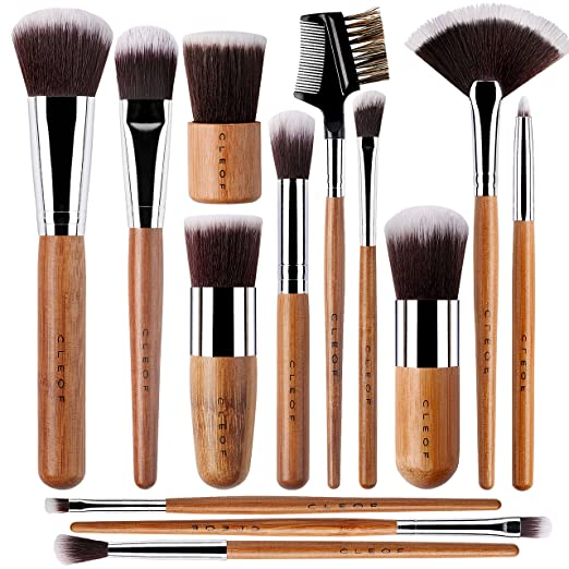 13 Bamboo Makeup Brushes Professional Set - Vegan & Cruelty Free