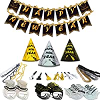 New Years Eve Party Supplies 2021 - New Years Eve Party Supplies 2021 - Happy New Year Party Supplies Kit for 20 Guests, Including 10 Hats, 10 Glasses, 10 Les, 10 Nacklaces, 10 Squakers, 10 Blowouts, Great De corations for 20 Guests New Years Eve Party