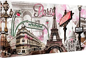 Donglin Art-Modern Wall Decor Pink Paris Eiffel Tower Paintings Stretched for Living Room City Paintings Wall Art Framed Ready to Hang 2412inch (Framed On Canvas)