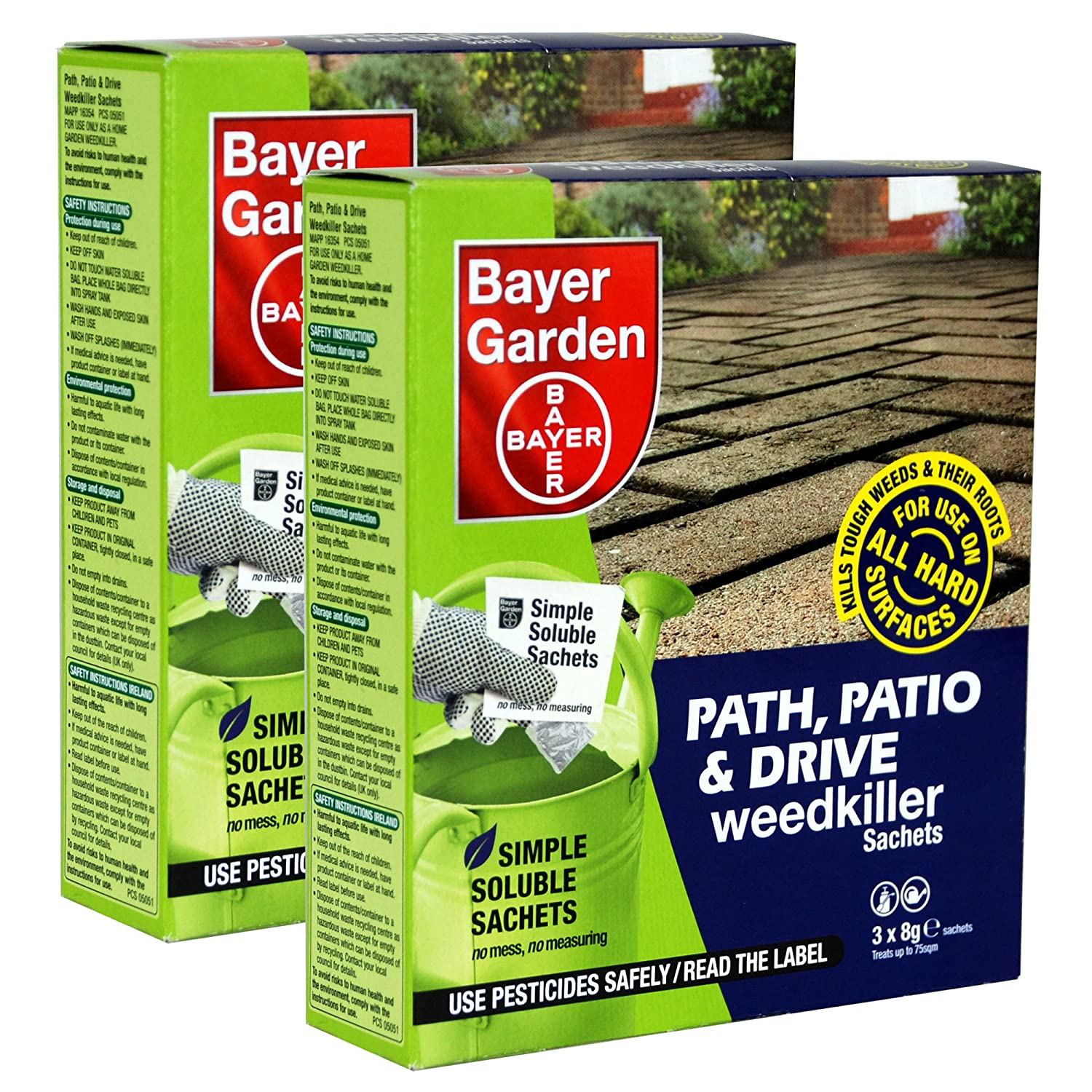 Bayer Garden 2 x Path, Patio & Drive Weed Killer - 3 x 8g Sachets per pack treats upto 75sqm - Kills Ground Elder, Nettles, Docks, Couch Grass & Japanese Knotweed.