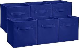 AmazonBasics Foldable Storage Cubes - 6-Pack, Navy