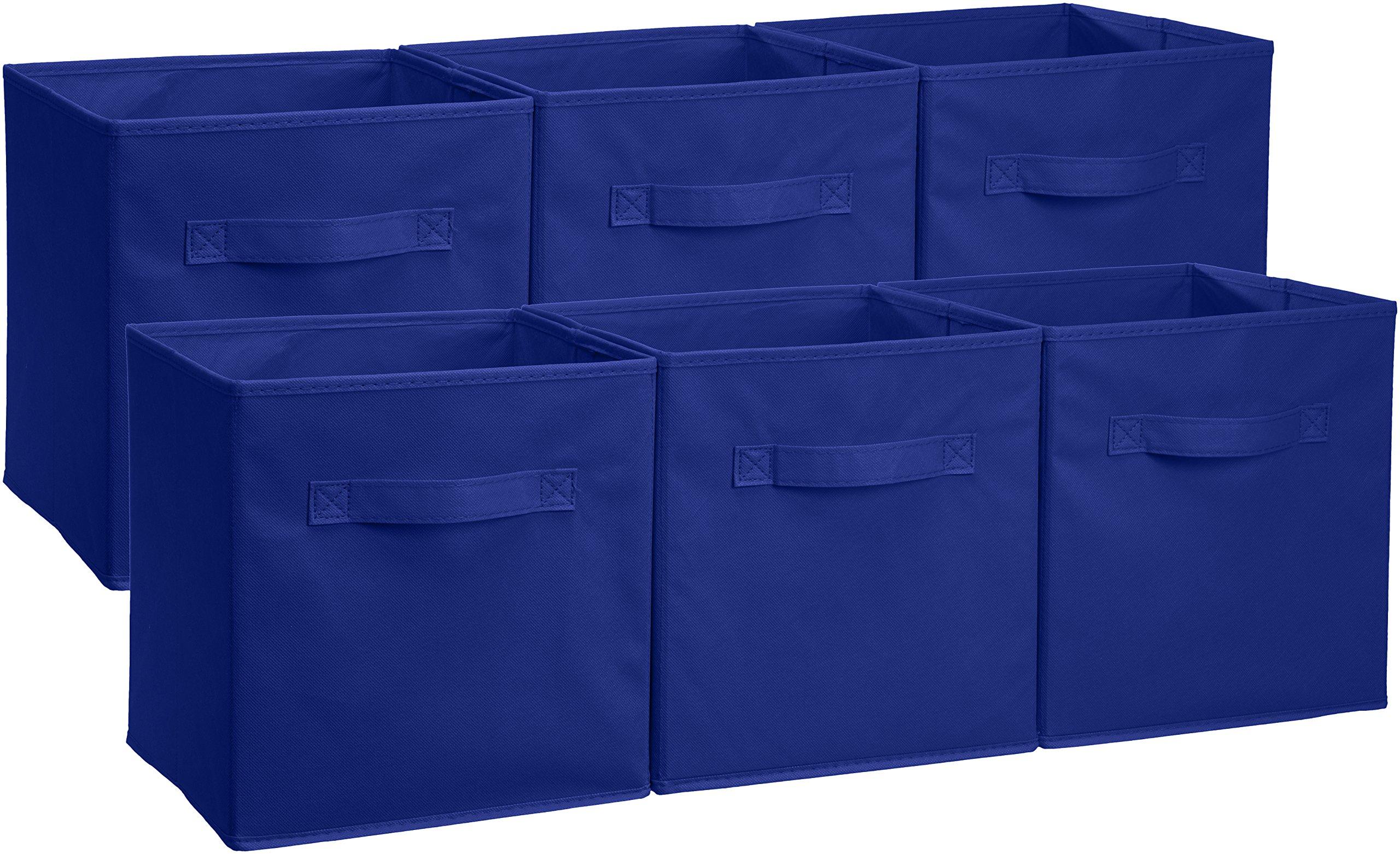 AmazonBasics Foldable Storage Cubes - 6-Pack, Navy by AmazonBasics