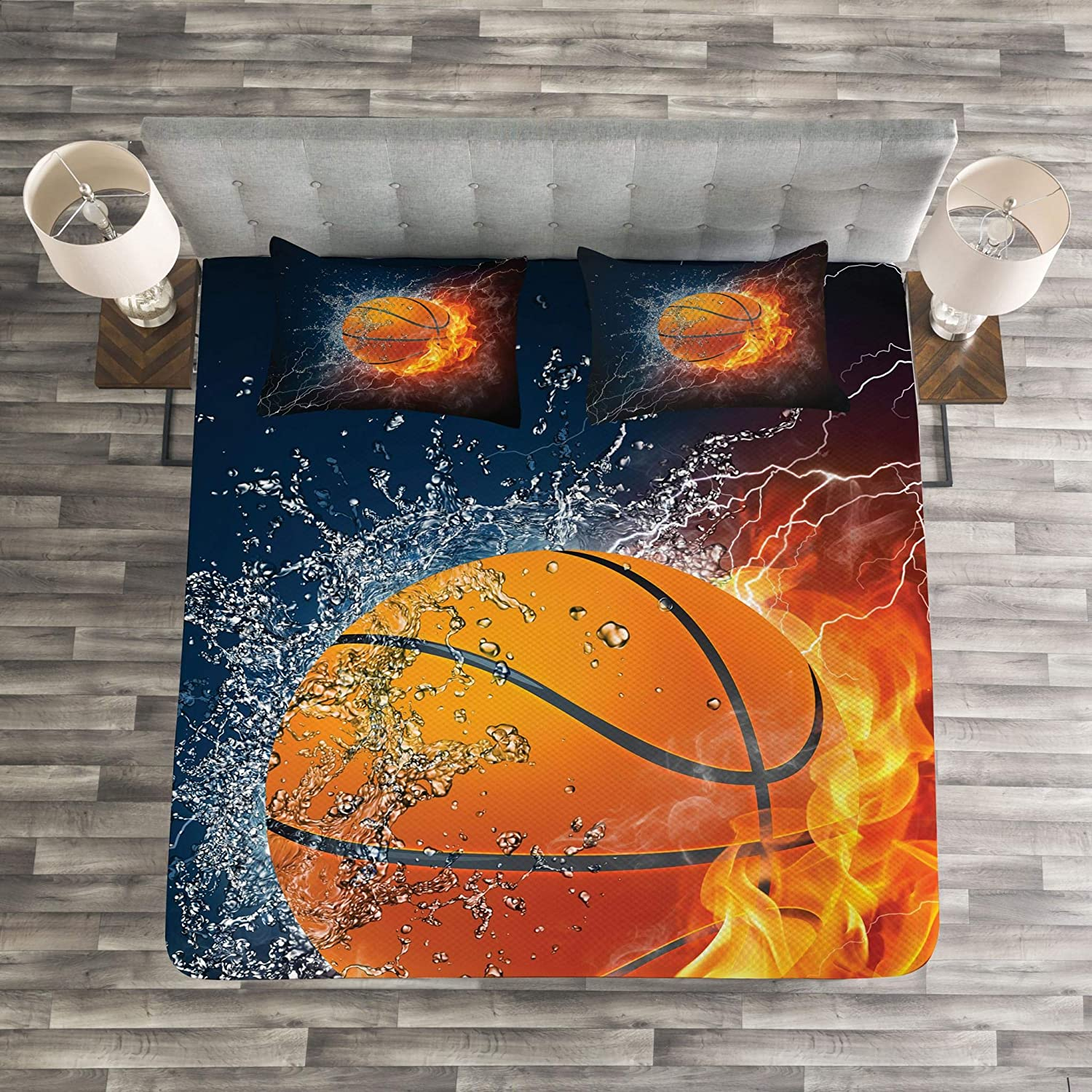 Basketball Ball on Fire and Water Flame Splashing Thunder Lightning Dark Blue Orange Burgundy Decorative Quilted 3 Piece Bedspread Set with 2 Pillow Shams Lunarable Sports Coverlet Set Queen Size