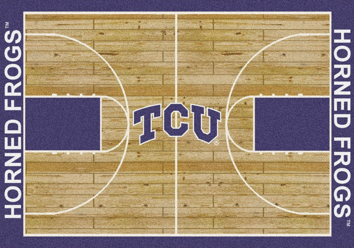 Texas Christian Horned Frogs NCAA College Home Court Team Area Rug 10'9''x13'2'' by American Floor Mats