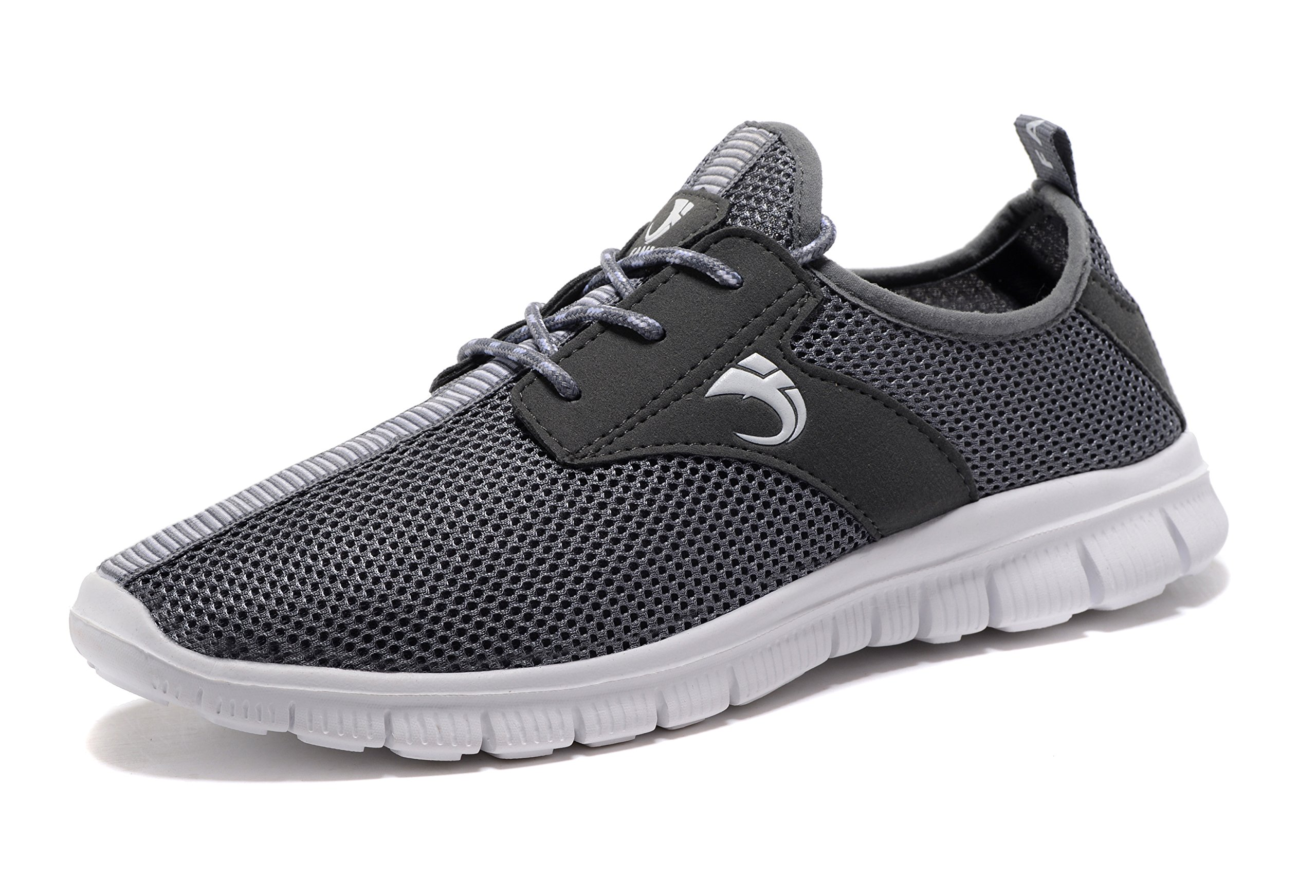 FANIC Men's Walking Shoes Workout Shoes Full Mesh Running Shoes Lightweight Comfortable Fitness Breathable Casual Sneaker (47 M EU / 12.5 D(M) US, Grey) by FANIC (Image #2)