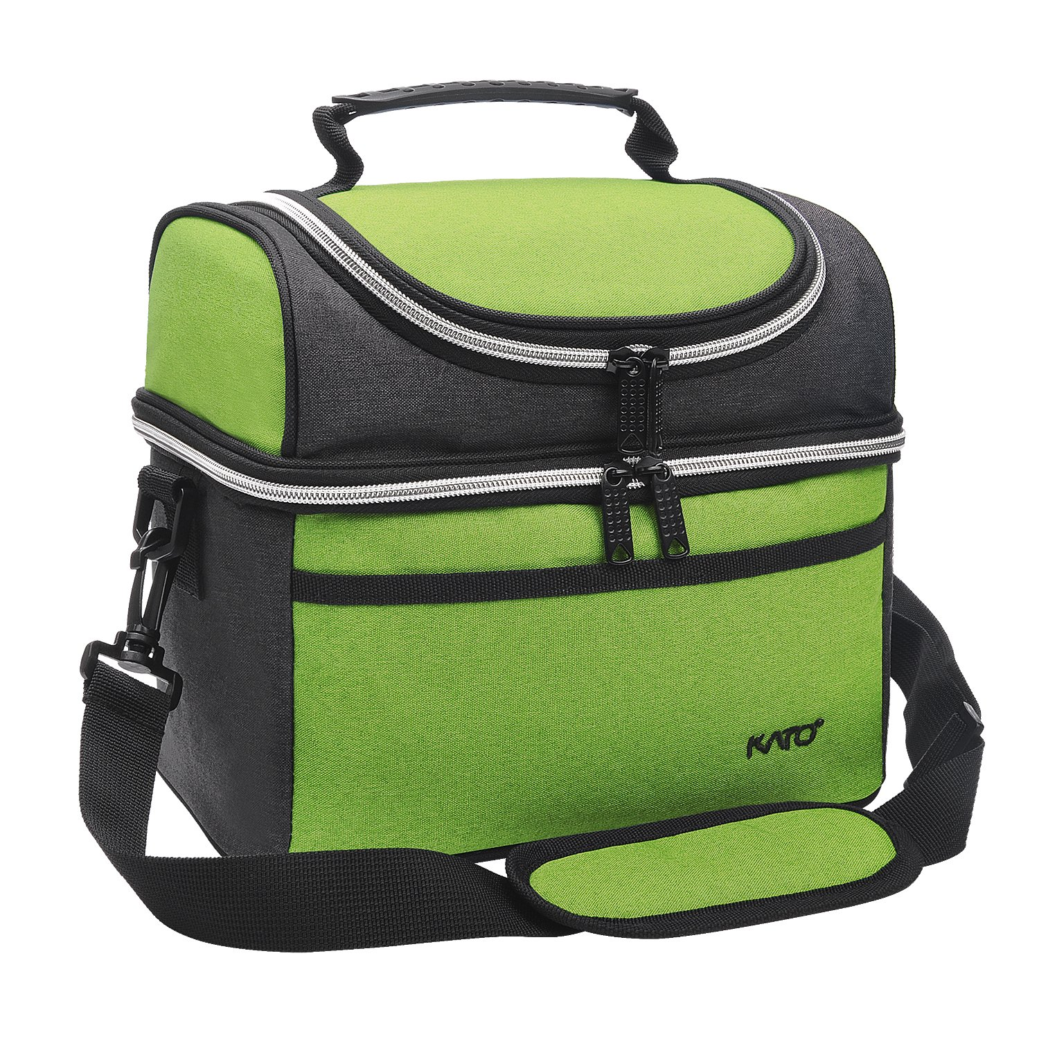 Kato Insulated Lunch Bag, Leakproof Thermal Bento Cooler Tote for Women and Men, Dual Compartment with Shoulder Strap and Front Pocket, Oxford Cloth, Green
