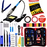 Soldering Iron Kit - Soldering Iron 60W Adjustable Temperature, Solder Wire, Soldering Stand, Wire Cutter, Solder Tips…
