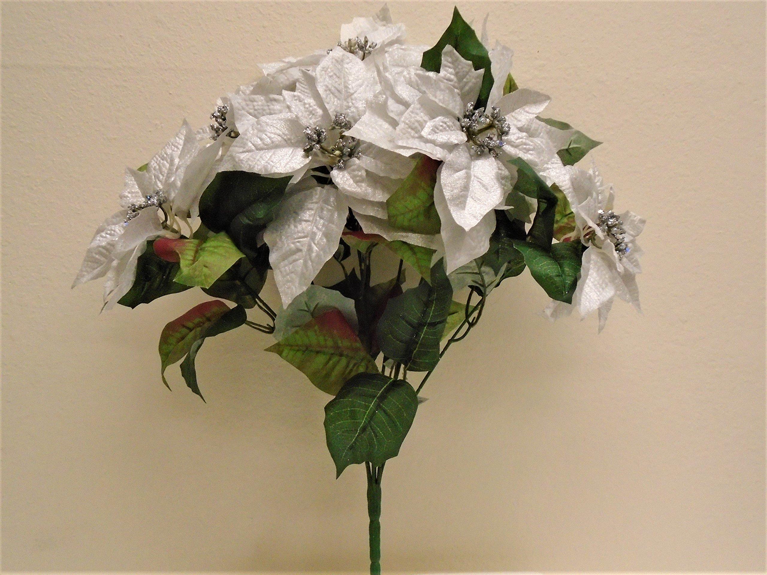 "Silver Christmas Poinsettia Bush Artificial Silk Flowers 23"" Bouquet 7-8801SL"