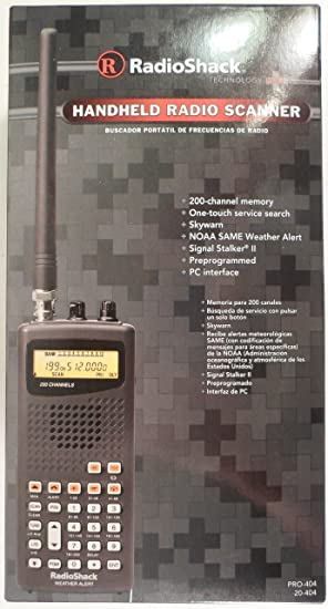 RadioShack Handheld Radio Scanner - 200 channel memory VHF/AIR/WX/UHF - One  Touch Service Search - Skywarn - NOAA SAME Weather Alert - Pro-404 -
