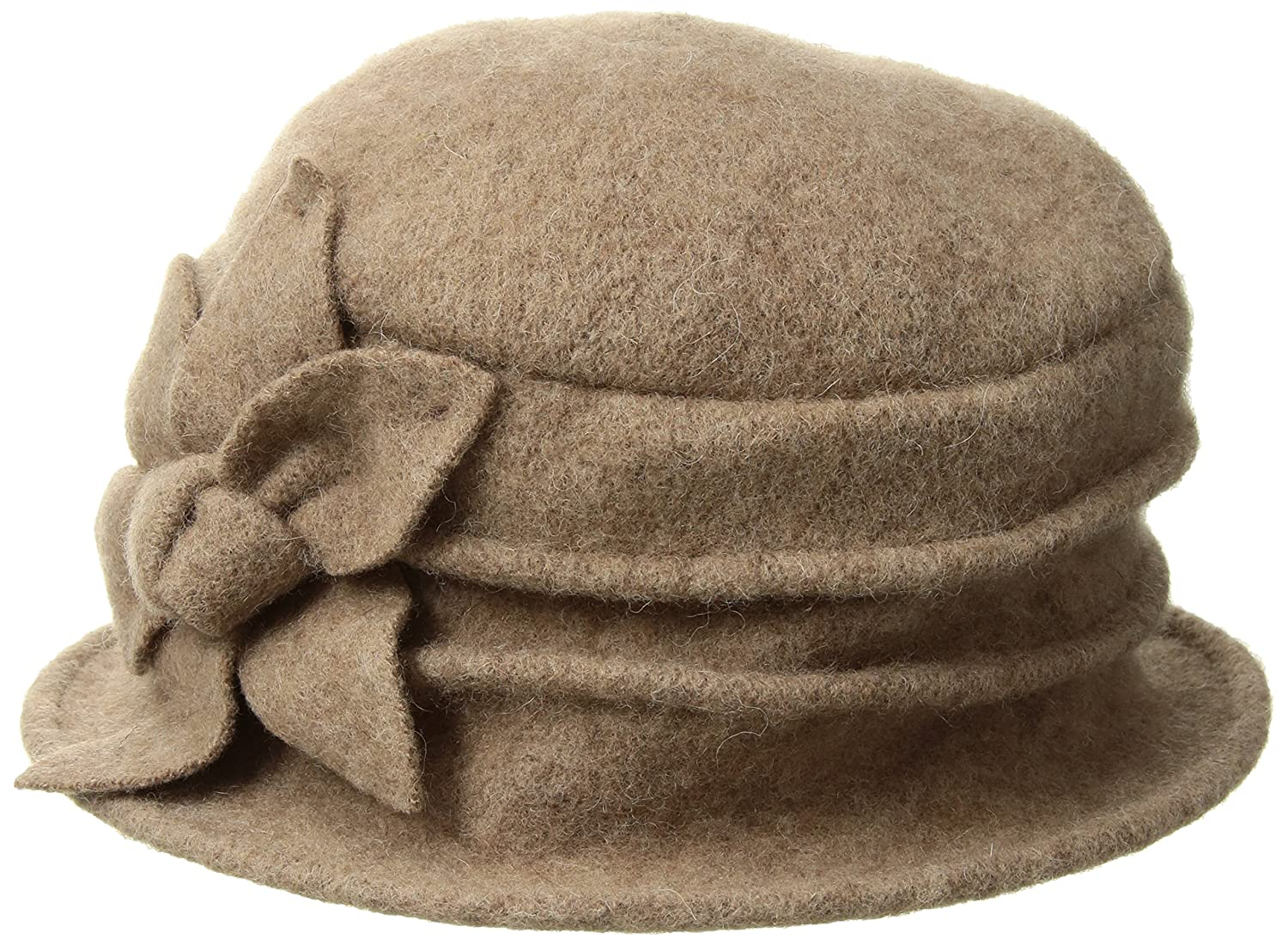 8be56bddfb5 Dahlia Womens Daisy Flower Wool Cloche Bucket Hat HT0014WLW-BK