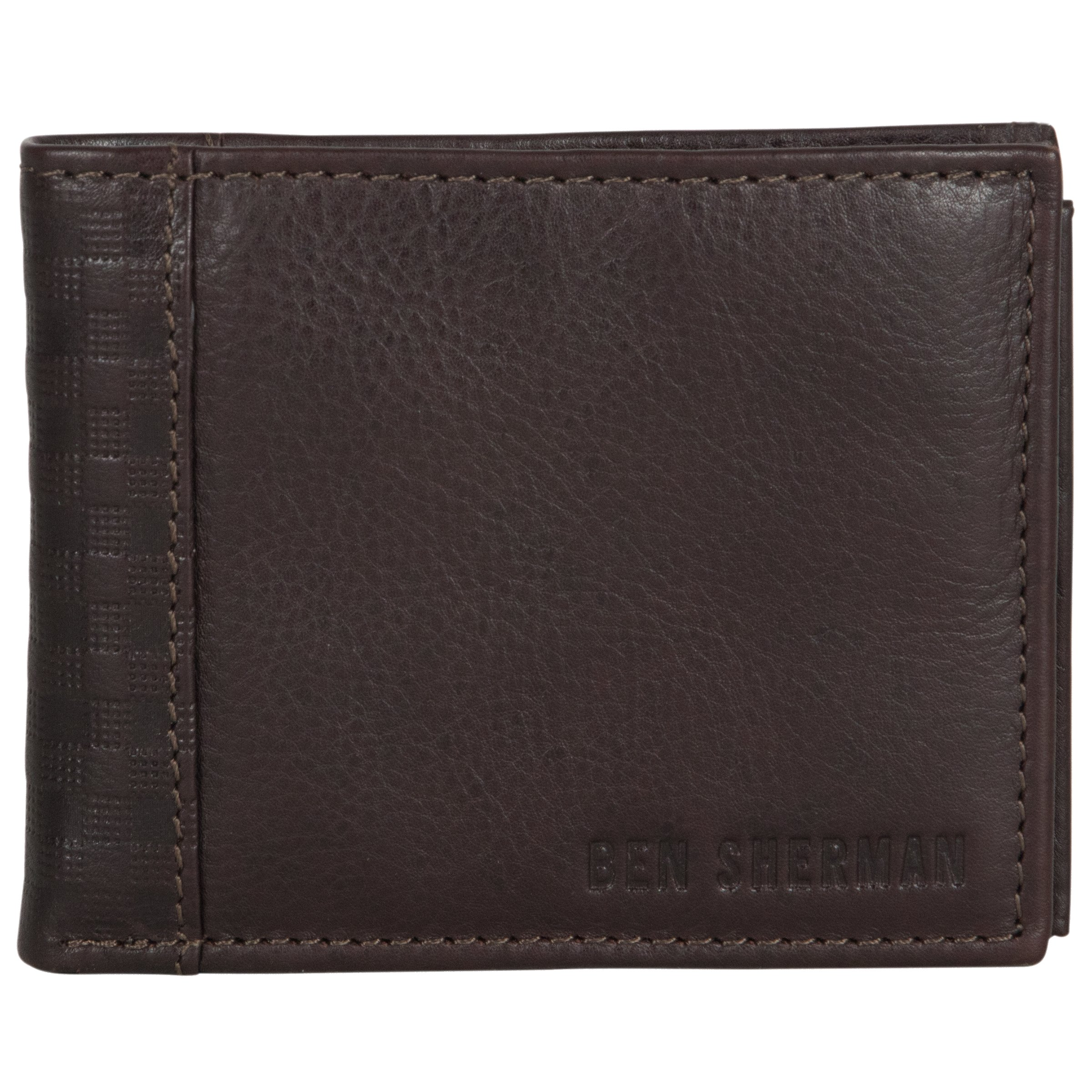 Ben Sherman Men's Leather Bi-Fold Passcase Nine Pocket Wallet with Id Window (Rfid), Brown
