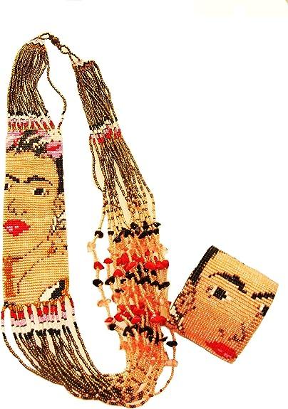 "NE710 Frida Kahlo Fair Trade Necklace Crystal Glass Hand Beaded 22/"" Fair Trade"