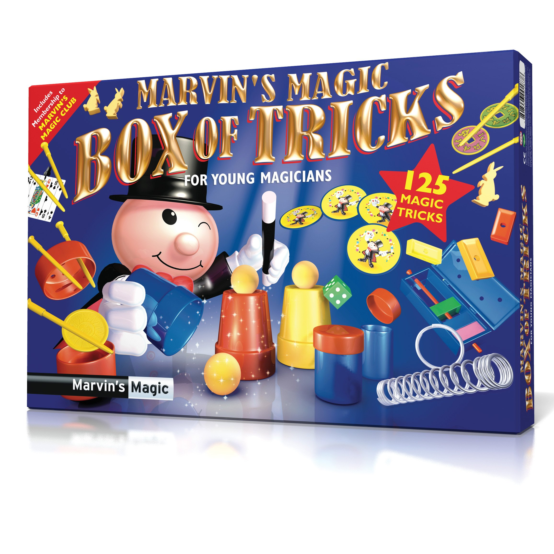 Marvin's Magic '125 Box of Tricks' for Kids, 125 Magic Tricks Set for Girls and Boys, Cups and Balls, Card Tricks, Sponge Magic Rabbits, Color block escape, Mind reading dice trick by Marvin's Magic